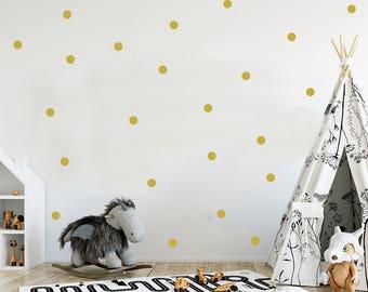 Gold polka dot decals, vinyl decals, black polka dot decal, gold dot decals, wall decals, two inches dots vinyl, metallic gold decal