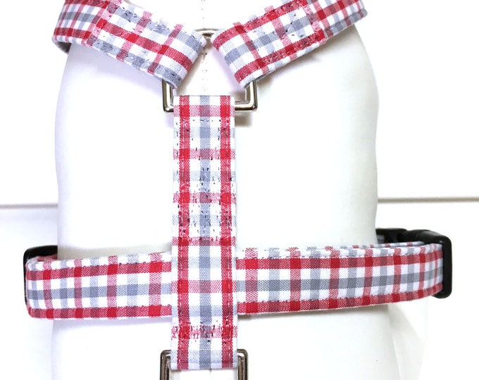 Featured listing image: Naked Dog Harness- The Red and Gray Plaid- Adjustable Harness