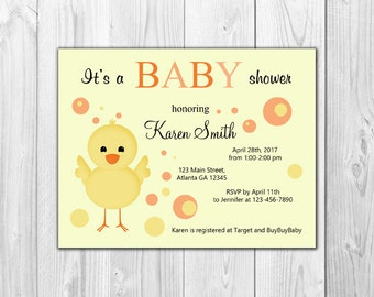 Chick | Baby Shower Invitation (8 Invitations and 8 Envelopes)