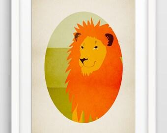 Safari Nursery Decor, Lion Art Print, Jungle Nursery Art, Zoo Animals, Alphabet Letters, Alphabet Wall Art