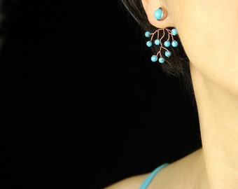 Ear jacket turquoise copper wiring branching earring handmade US free shipping Anni Designs