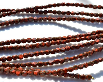 Coral Red Picasso 4mm Faceted Fire Polish Flat Coin Czech Glass Beads  50