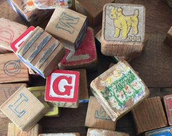 Vintage Wooden Blocks, 40 Vintage Blocks, Vintage Children's Blocks, Number and Alphabet Blocks