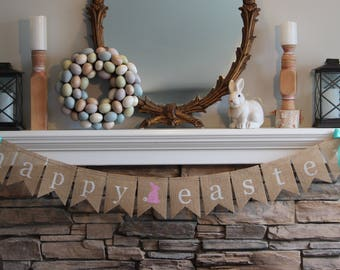 Burlap Easter banner/Burlap Banner/Easter banner/Garland/Easter sign/Easter Decor/Easter decorations/photo prop/Easter bunny