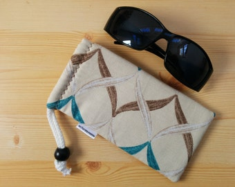 Glasses case,sunglasses case,turquoise case,geometric case,quilted glasses case,sunglasses cover,glasses bag,glasses soft case,geometric