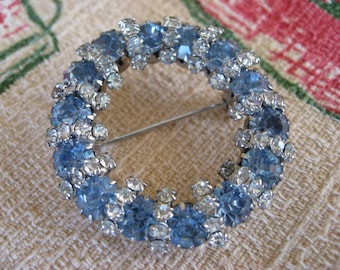 Reserved for Karen - Vintage Brooch - Stunning Blue and White Crystals - Lovely Piece