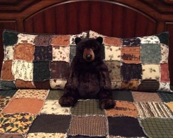 Cabin Quilt King Size Woodland Rag Quilt Log Cabin with shams
