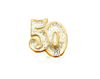 Gold Glitter Number 50 Birthday Candle