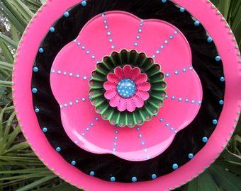 PINK PINWHEEL  Hand Painted Glass Garden Plate  Flower Yard Art Sculpture