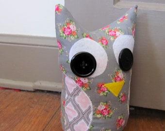 Fabric Door Stop / Fabric Bookend / Door Stop / Bookend / Home Decor -Gray with pink