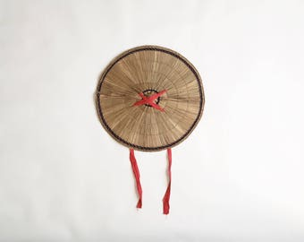 Vintage Japanese Straw Hat with Red Tie