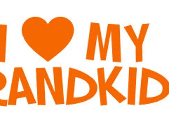 "FREE SHIPPING //  8x2.5"" I Love My Grandkids Car Decal - Grandma - Grandpa - Vinyl Decal - Grandkids - Papa - Mama - Mimi - Vehicle Vinyl"