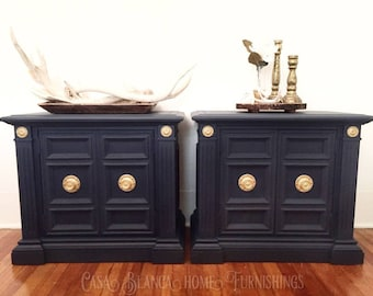 SOLD Navy Blue Nightstands, Nightstands, End Tables, Table, Tables, Blue  Night