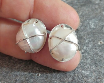Silver & Pearl Stud Earrings, Cross Wrapped White Freshwater Coin Pearls