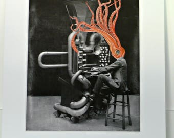 Squid Print, Music Man, Surreal Collage, Sealife Art, Thomas Edison Musical Instrument, Surrealism Pop Art, Odd Art, Matted Giclee Print
