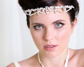 1920s Style bridal headpiece , bridal forehead headpiece Great Gatsby Wedding tiara crystal wedding headpiece forehead band - Tiara