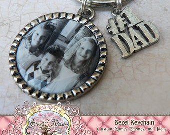 Father's Day Gift, New Dad Gift, Photo for DAD, Number 1 Dad Charm, Dad Present, Dad Keychain, Grandpa Gift, Photo Keychain, Dad Birthday