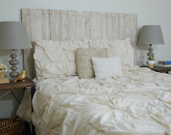 Whitewash Weathered Look - King Hanger Headboard with Vertical Boards. Mounts on wall. Adjust height to your convenience. Easy installation.