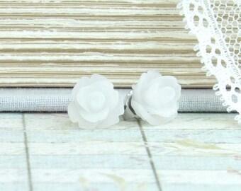 White Rose Stud Earrings White Flower Earrings White Rose Studs Hypoallergenic White Flower Studs