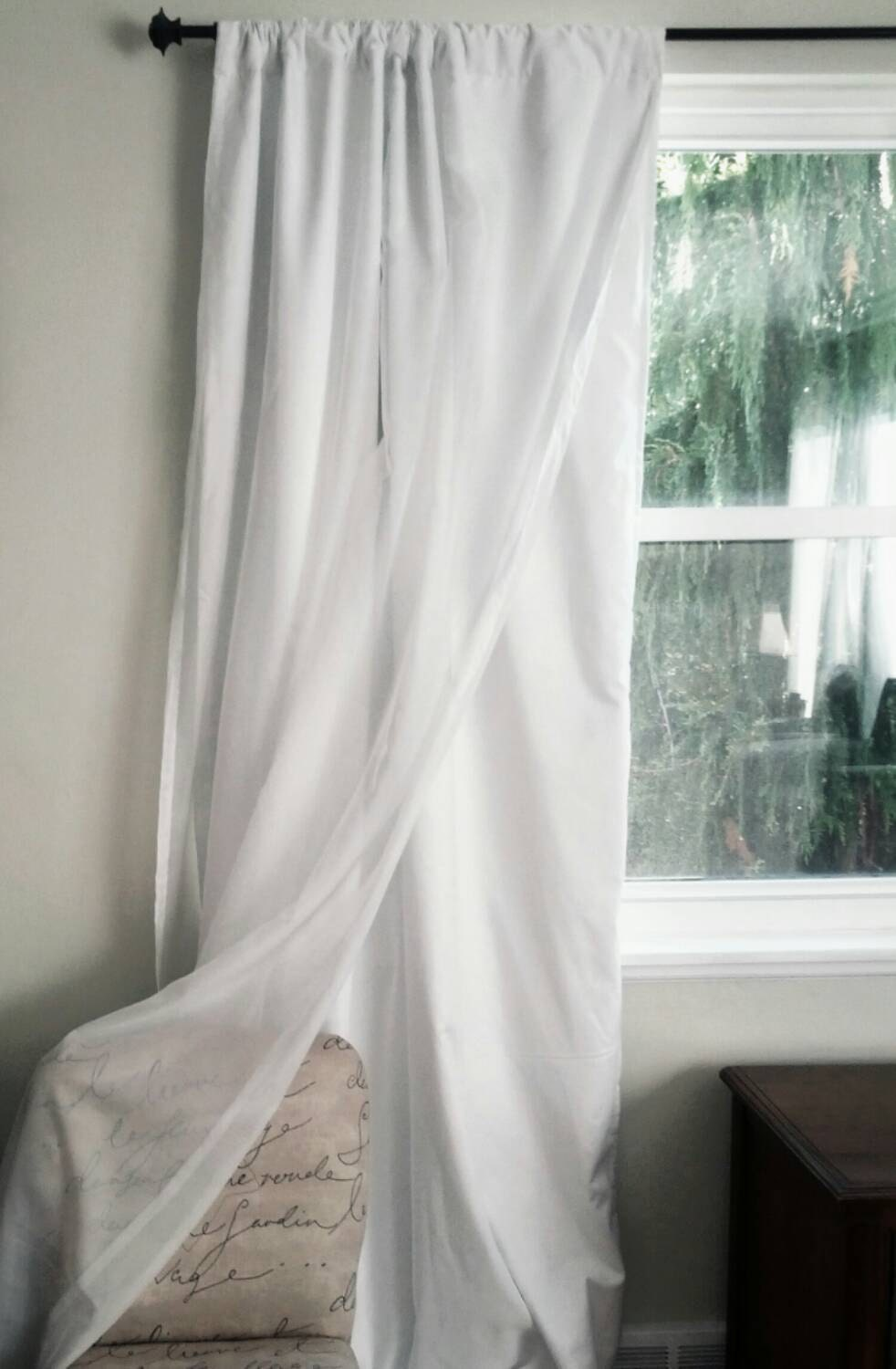 White Blackout Curtain with Voile Overlay One Panel Custom for Grey And White Voile Curtains  270bof