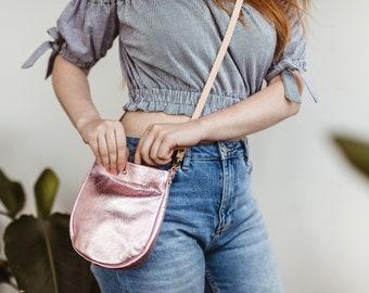 SUZIE Small Leather Purse. Small Silver Purse. Small Leather Crossbody Bag