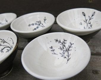 Botanical Bitty Bowl, Prep Bowl, Spice Bowl, Ceramic Tea Light Trinket Dish Simple and Tiny, Handmade Artisan Pottery by Licia Lucas Pfadt