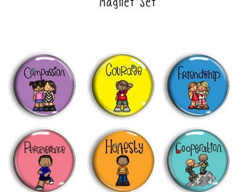 Character Qualities 1 Inch Magnet Set - Classroom Magnet - Classroom Magnets - Character Magnets - Character Qualities
