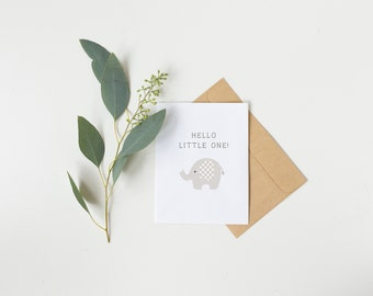 Hello Little One Grey Elephant Card