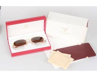CARTIER VINTAGE Gold Rectangular Mint Sunglasses 2012116 54/21 NOS