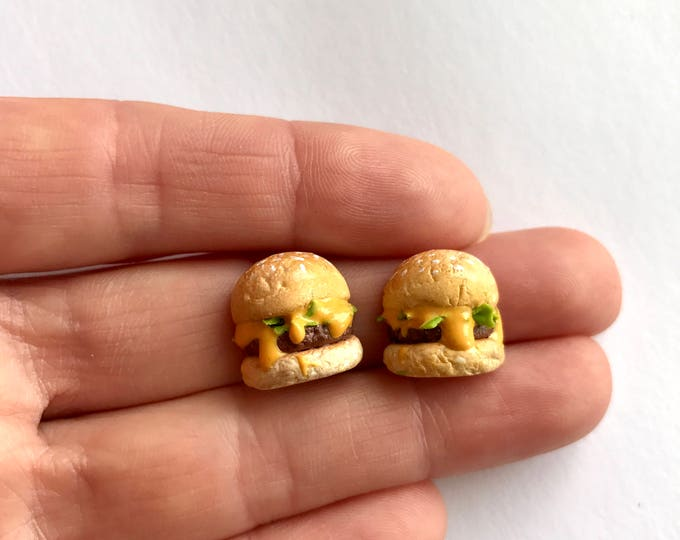 Hamburger Earrings or Pendant - Cheeseburger with melted Cheese