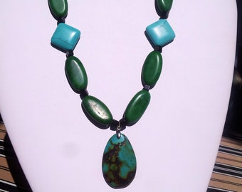SALE; Turquoise natural stone necklace, Green and  Blue Turquoise