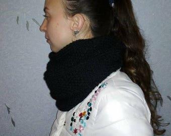 Black scarf knitted, Chunky Cowl Scarf, Shawl Hood, Hood scarf, Women scarf, Chunky knitted Scarf, Infinity chain scarf, Crochet cowl