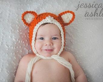 Baby Fox Hat, Fox Hat, Newborn Fox Hat, Fox Photo Prop, Fox Baby Shower Gift, Baby Fox Bonnet, Newborn Fox Bonnet, Baby Fox, Fox Baby Shower