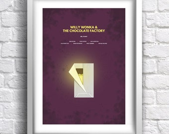 Willy Wonka & The Chocolate Factory - alternative, minimalist movie poster, Gene Wilder, art print, home decor