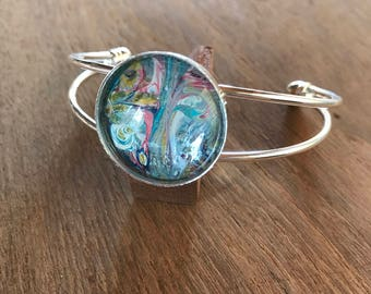 Slip On Bracelet Wearable Art Pendant Jewelry Abstract Round Multicolor Boho Chic Boho Style Acrylic Paint Acrylic Art Jewelry Blue