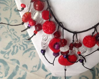 Red Hat Society necklace of Sophisticated red and purple tones