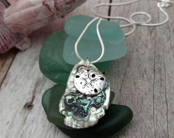 Beach Inspired Abalone Paua Shell With Silver Dollar Necklace