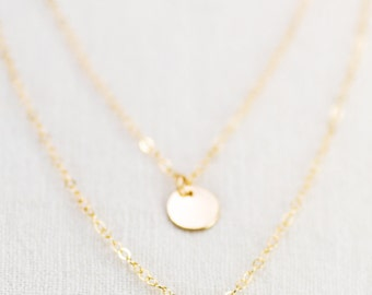 Aniani necklace - double layered 14k gold filled disc necklace, delicate gold necklace, double strand necklace, layering necklace, hawaii