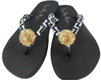 Softball Flip Flops with Chevron Black and Bling Rhinestone - Gift for Baseball Moms and Softball Girls, Players and Teams, Coach