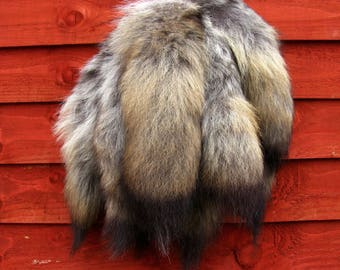 Amazing real coyote fur tail lucky charm keyring, natural colours, CT03