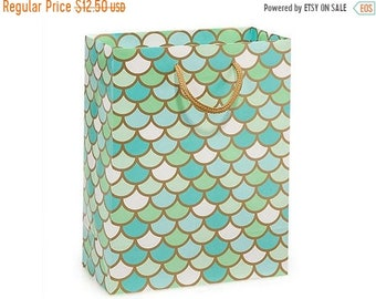 "Spring Sale Mermaid Scale Gloss Cub 10 Pk 8x4x10"" handled Merchandise Bags"