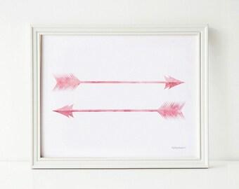 Girls digital art print Girls bedroom art, Pink arrows printable Cute travel art, Wanderlust wall decor, Light pink printable Office decor