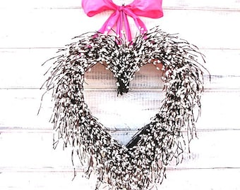 Valentine Wreath-Heart Wreath-Wedding Decor-Mothers Day Gift-Spring Door Wreath-Summer Wedding Decor-Custom Wedding Decor-Anniversary Gift