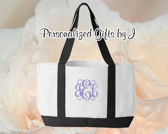 Personalized Monogrammed Bridesmaid Gift 2 Tone Tote, Embroidered Tote, Monogrammed Tote, Bridal Party Gift