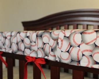 Baseball Baby Crib Rail Guard Cover