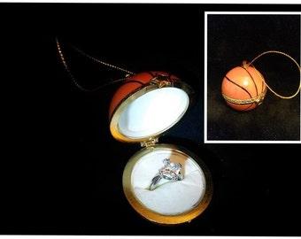 basket ball christmas ornament hanging engagement ring box earrings cuff links gift box holiday christmas engagement proposal - Christmas Ornament Ring Box