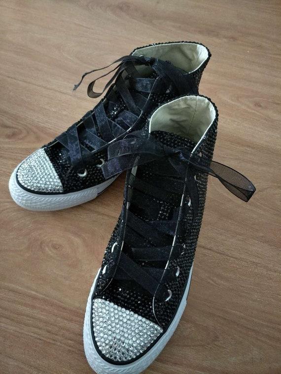 8f24fe96391d Black bling converse shoes flower girl sneakers Girls Bat