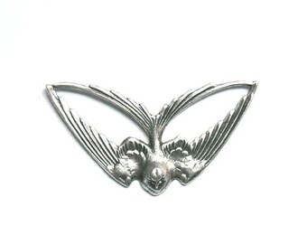 1 Antique Silver Swooping Bird Connector - 3-2
