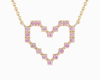 Super Pixel Heart Necklace of Wisdom