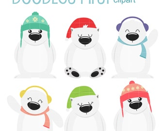 Winter Polar Bears Clip Art for Scrapbooking Card Making Cupcake Toppers Paper Crafts